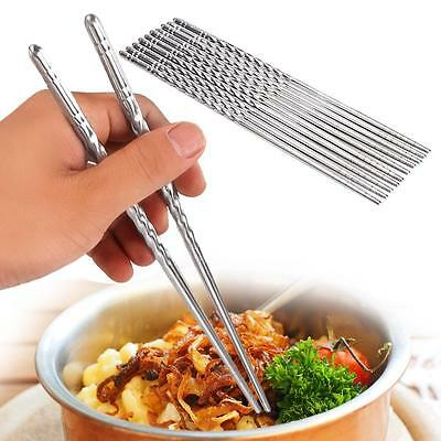 5 pair Stainless Steel Chopsticks Dishwasher Safe Light Non-slip Chop sticks PK