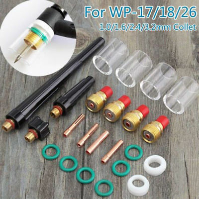 23X TIG Welding Torch Collet Gas Lens 10 Pyrex Glass Cup Kit for SP WP17/18/26