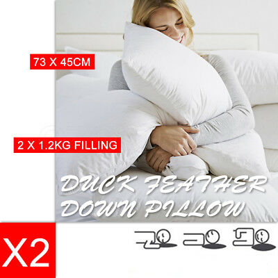 2 x Luxury 1.2KG Duck Down Feather Pillow Cotton Cover Comfort Full Hotel Home