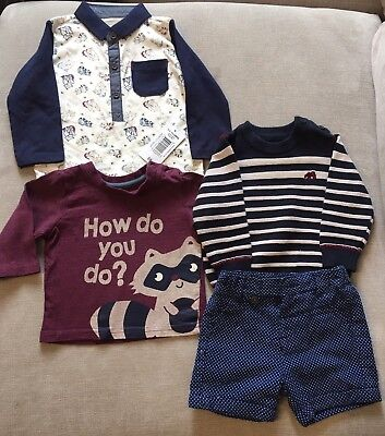 Bundle Of Boys Contrasting Shorts And Tops 3-6 Months M&S, Nutmeg, Early Days