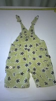 Childs Pumpkin Patch Overalls Size 1, Cotton, Stars Pattern, Green and Black
