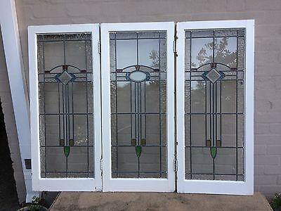 Timber Casement Lead light Window sold as a lot of 3