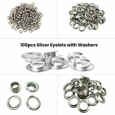 100 Brass Eyelets Grommet & Washers Leather Craft Tarpaulin Banner Rust Proof