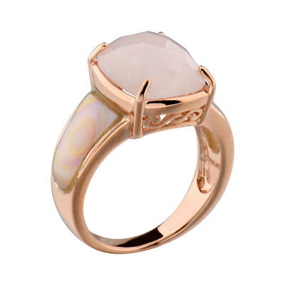 Rose Gold Plated Silver Pink Mother of Pearl & Rose Quartz Women Wedding Ring