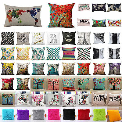 "18"" Vintage Cotton Linen Pillow Case Waist Throw Cushion Cover Home Sofa Decor"