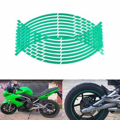 16 Strips Motorcycle Wheel Rim Sticker Tape Decal 17 or 18 inch Reflective Green