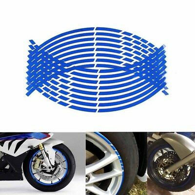 Blue Motorcycle Wheel Rim Sticker Tape Decals 16 Strips 17 or 18 inch Reflective