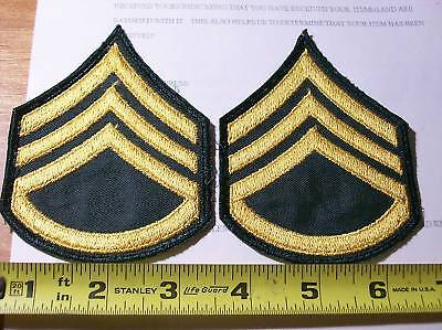 Nice PR of Yellow / Green Military Dress ARMY SSG / E6 Rank Insignia Patches