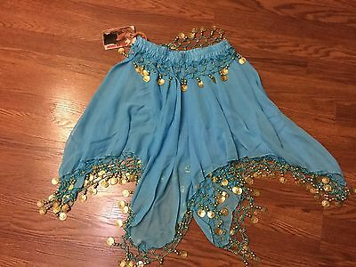 Womens PAPAYA REPUBLIC~Sheer Blue Skirt w/ Gold Coins~Belly Dancer/Dance Costume