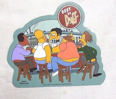 "VINYL STICKER Decal THE SIMPSONS Homer BODY BY DUFF Beer BUM Cracks 4"" x 4.5"""
