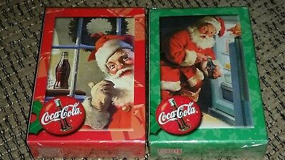 Lot of 2 Vintage New Sealed Coca-Cola Coke Christmas Santa Claus Playing Cards