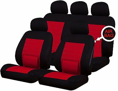 Universal Car Seat Covers Full Set Lumbar Support Red Washable Airbag Compatible