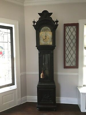 Tiffany & Co Carved Oak Case Grandfather Clock Walter Durfee Movement 5 Tubes