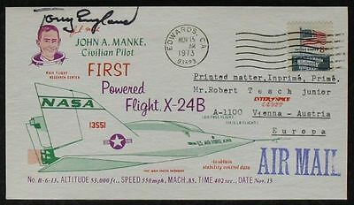 s1265) Raumfahrt Space Tony England Autograph cover First Powered Flight X-24 B