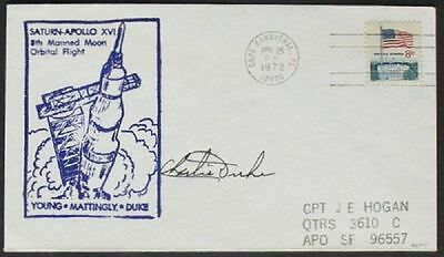 s557) Raumfahrt Space Apollo 16  CC 25.4.1972 OU Charles Duke - signed Bolaffi