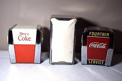 3 Retro Look Stainless Steel Napkin Holders 2 Coca Cola 1 Bloomfield Industries