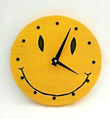 Smiley Face Wall Clock Wooden Yellow Retro Battery Operated Hang anywhere!