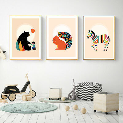 Nursery Cartoon Animal Lion Bear Canvas Art Poster Children Room Decoration