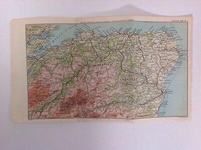 Scotland, Aberdeen, Banff, Elgin 1897 Antique Map, Bartholomew, Atlas Original