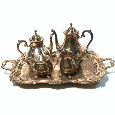 Antique Leonard 5 Piece Set of Silver-Plate Coffee Tea Cream Sugar Tray, Footed