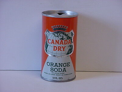 Vintage Canada Dry Orange Soda Straight Steel Pull Tab Top Opened Pop Can