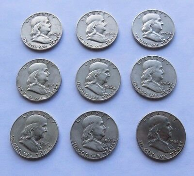 Lot of 9 Benjamin Franklin Silver Half Dollars 1952 - 1963 Old US Coins