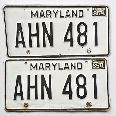 Maryland 1985 Pair Old License Plate Garage Car Tag Set Man Cave Auto Matching