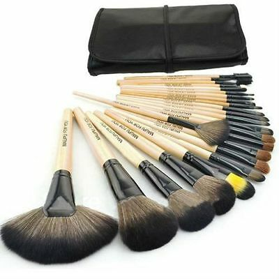 24tlg Professionelle Kosmetik Pinsel Makeup Brush Echthaar Schminkpinsel Set