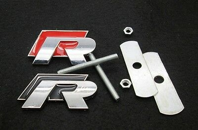 R line Grill Badge Emblem Decal Logo Grille Golf for Polo Scirocco R20 VW R Red