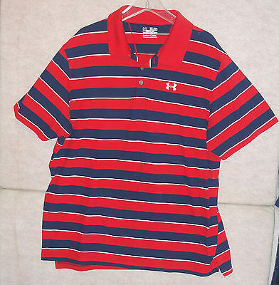 Nike men 39 s polo shirt blue striped short sleeves size 3xl for Under armour 3xl polo shirts