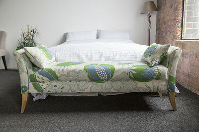 6ft Anna Bed End bench in Christopher Farr Carnival Linen in Green  BNWT UK made