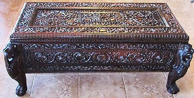 Antique Hand Carved Rosewood Chest Coffer Trunk Arabesque; Caryatids PICKUP ONLY