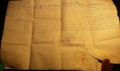 KING LOUIS XIV AUTOGRAPH on PARCHMENT with WAX SEAL - 1702