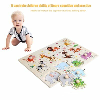 Wooden Baby Children Animal Jigsaw Early Learning Puzzle Toy Educational Plate E