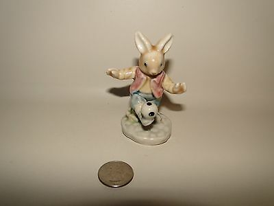 "Ceramic Rabbit Figurine Boy PLaying Soccer, Pastel Colors, 3 1/2"" Tall"