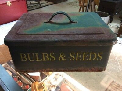 Vintage Bulbs And Seeds Garden Storage Box With Lid  Cabin Decor Rustic