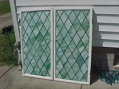 Large Pair Antique Green Slag Glass Leaded Glass Windows