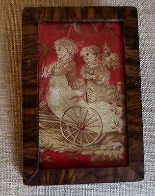 Early 1800's Antique Fabric Picture of Children in an Egg Shell Chariot