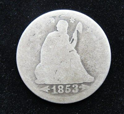 1853 US Seated Liberty Silver Quarter Arrows & Rays * Nice Early Type Coin *
