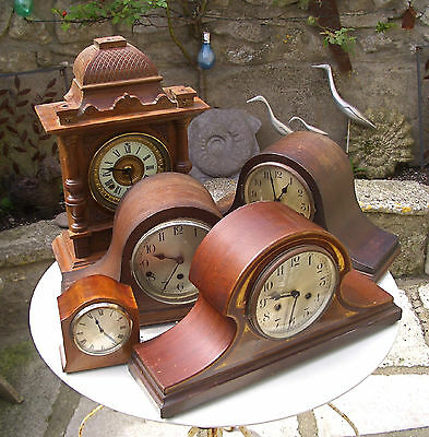Job Lot 5 Antique / Vintage Wooden Clocks - Spares or Repair - Collection Only