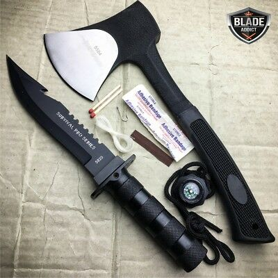 2 PC Tactical Hunting Axe Battle Hatchet + Fixed Blade w/ Survival KIT Black NEW