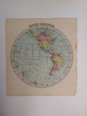 Western Hemisphere 1875 antique map, nelson's original