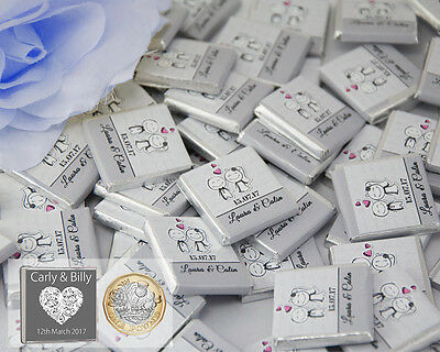 100 Personalised Wedding Chocolate Favours,Table Decor,Mr & Mrs Bridal Shower