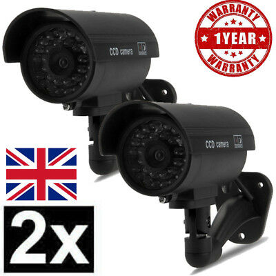 2X Outdoor Dummy Fake CCTV Security Surveillance Camera Flashing LED Black Color