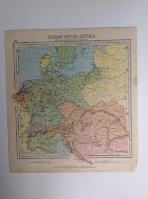 German Empire,Austria , Denmark, Holland,belg1875 antique map, nelson's Atlas