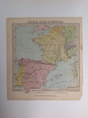 France Spain & Portugal 1875 antique map, nelson's original, Atlas