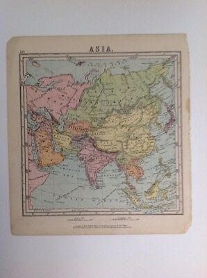 Asia 1875 antique map, nelson's original, Atlas