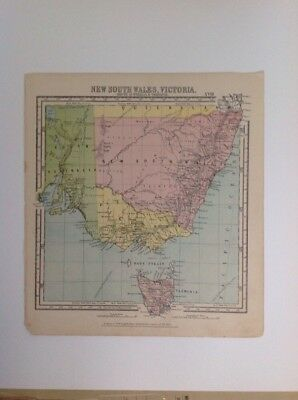 New South Wales, Victoria  1875 antique map, nelson's original, Atlas