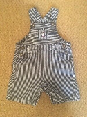 Baby JoJo Maman Bebe 12 - 18 Months Striped Blue Cotton Dungarees