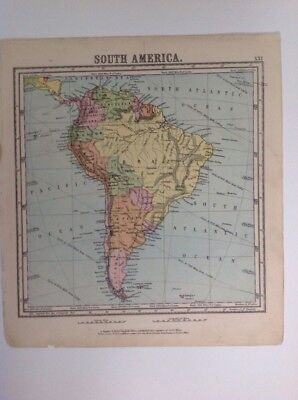 South America 1875 antique map, nelson's original, Atlas